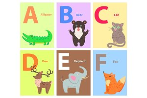 Alphabet with Cute Cartoon Animal Flat Vector Set