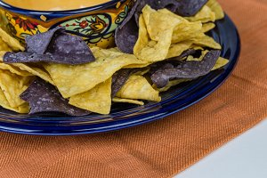 Blue plate with corn chips