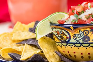 Bowl with chips and salsa