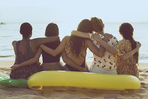 Summer fun with friends at the beach