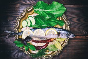 Whole raw fish mackerel