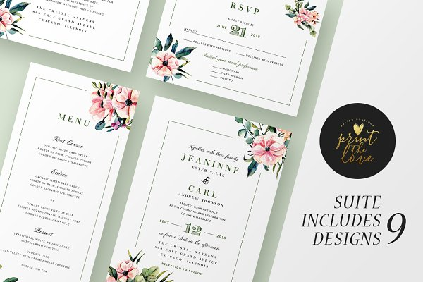 Invitation Templates: Print The Love Boutique - Wedding Invitation Suite - Jeaninne