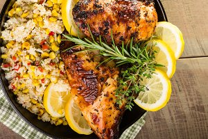 Cast iron skillet chicken meal