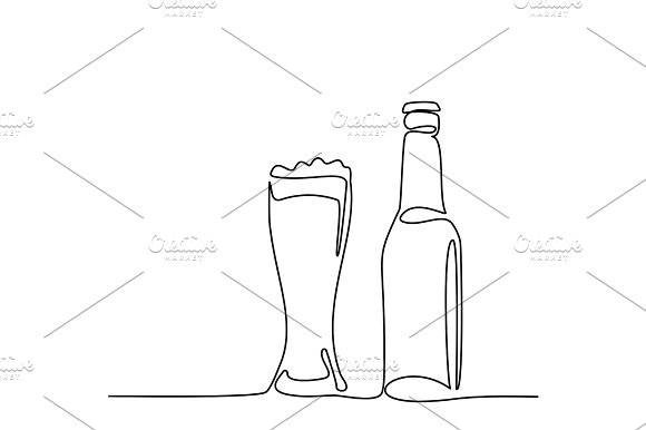 Beer Bottle And Glass With Beer