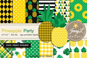 Pineapple digital Papers & clipart