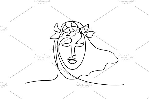 Abstract Portrait Of A Woman With Head Wreath