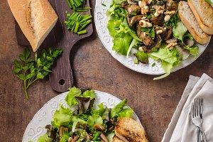 Mushroom salad with walnuts