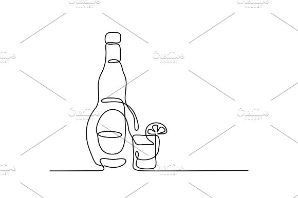 Tekila Bottle And Glass Isolated