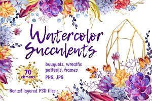 Watercolor Succulents Clip Art + PSD