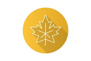 Maple leaf flat linear long shadow icon
