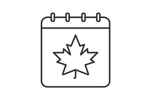 Autumn calendar with maple leaf linear icon