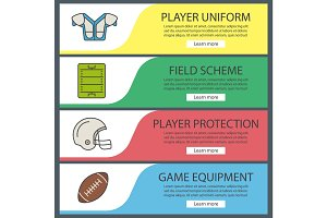 American football web banner templates set