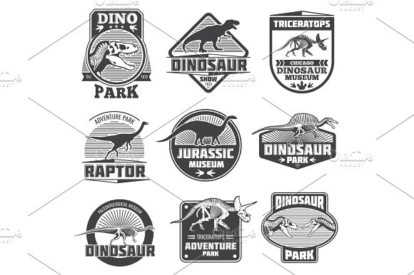 Vintage Grunge Dinosaur Vector Labels Dino Logos And T-shirt Design Jurassic Zoo Park Museum Emblems