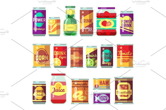 Canned Goods Vector Set Tinned Food Conservation Tomato Soup And Vegetables