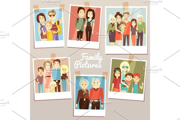 Happy Family Pictures With Different Generations Vector Set Photo Familys Memories