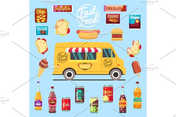 Food Truck With Big Set Summer Meal Fast Food Snacks Bottle Drinks And Ice Cream Flat Vector Illustration