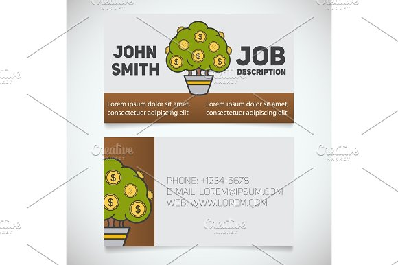 Business Card Print Template With Money Tree Logo