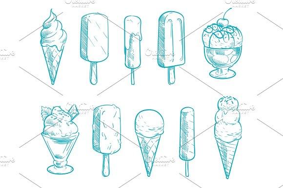 Doodle Ice Cream Cones Vector Set Hand Drawn Cartoon Ice Creams