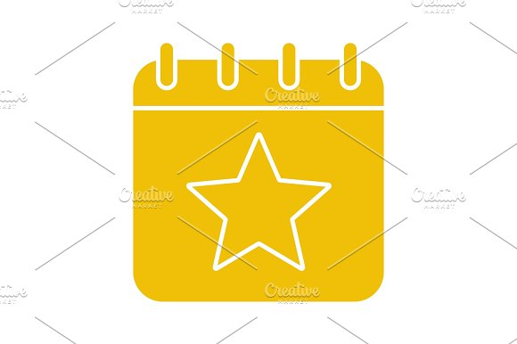 Calendar Page With Star Mark Glyph Color Icon