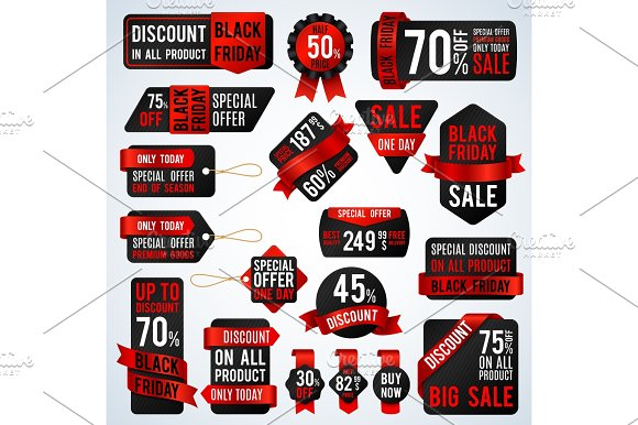 Black Friday Sale Banners And Price Tag Labels Selling Card And Discount Stickers Vector Set