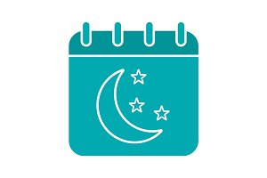 Night calendar glyph color icon