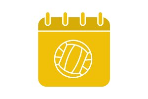 Volleyball championship date glyph color icon