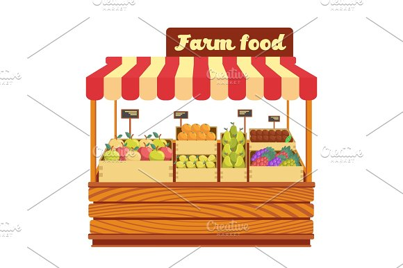 Market Wood Stand With Farm Food And Vegetables In Box Vector Illustration