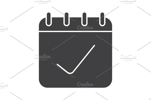 Calendar Page With Tick Mark Glyph Icon