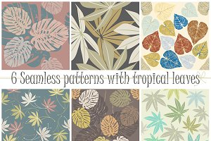 6 Seamless patterns with tropical le