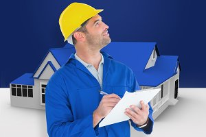 Composite image of male supervisor looking up while writing on clipboard