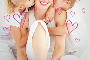 Composite image of adorable siblings kissing their mother sitting on a bed