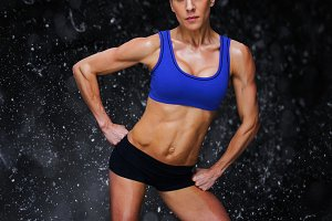 Composite image of female bodybuilder