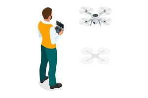 Isometric man with drone quadrocopter, Remote aerial drone with a camera taking photography or video recording. game sevremennaya, isometrics businessman. On a light background. Vector illustration.