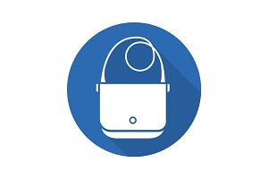 Shoulder bag flat design long shadow glyph icon