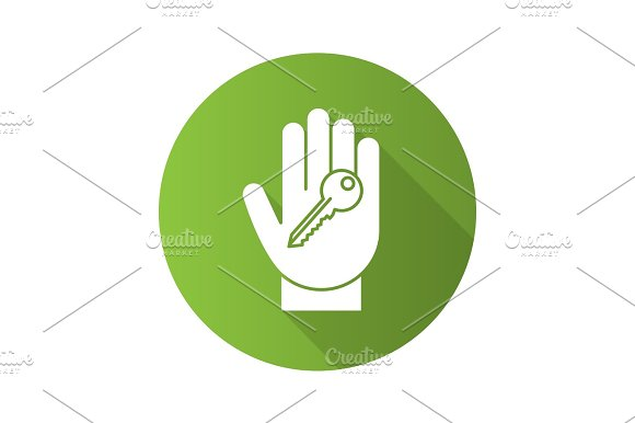 Hand With Key Flat Linear Long Shadow Icon