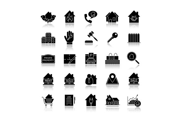 Real Estate Market Drop Shadow Black Glyph Icons Set