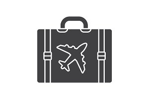 Travel luggage suitcase glyph icon