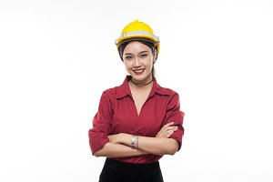 Industrial girl in red shirt