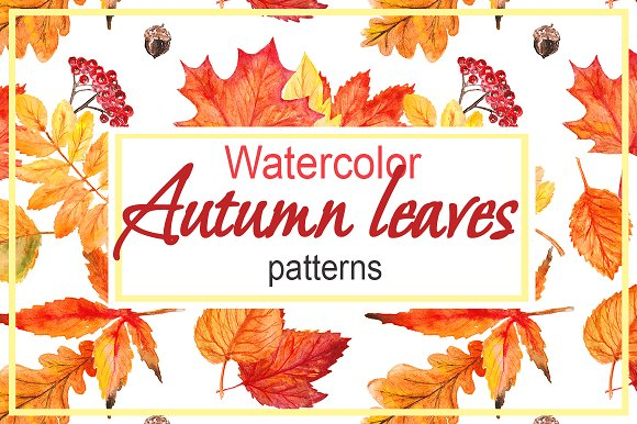 Watercolor Autumn Leaves Patterns