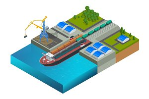 Isometric railway dock, a ferry carrying train wagons. Train on the ferry. Transportation of large loads by sea. Global logistics network. Vector ferryboat