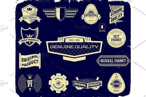 Set Of Vintage Labels On The Black Collection 1