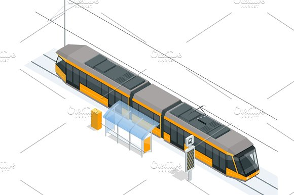 Tram On The Stop Tram Stop Isometric Icon Set Vector Graphic Illustration Vector City Subway Train Collection Vehicles Designed To Carry Large Numbers Of Passengers