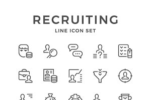 Set line icons of recruiting