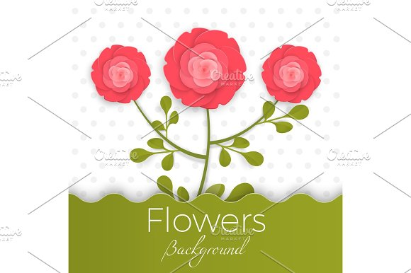 Paper Flowers Background With Exotic Flowers Of Red And Green Colors
