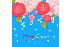 Paper flower realistic style illustration of pink roses
