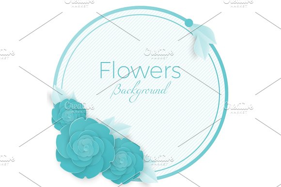 Flowers Background With Three Dimensional Blue Rose