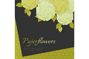 Paper flower realistic illustration of white and green cream roses