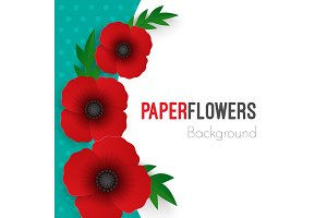 Flowers background with full blooming red poppies with green leaves