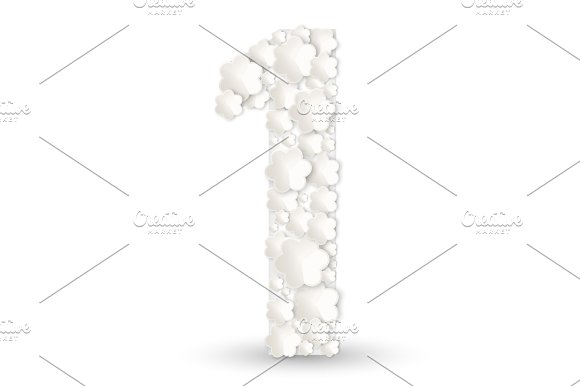 Figure One Made Of White Flowers Vector Illustration Isolated