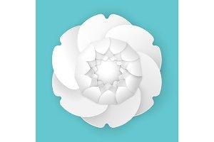 Origami stylish peony flower in three dimensional design